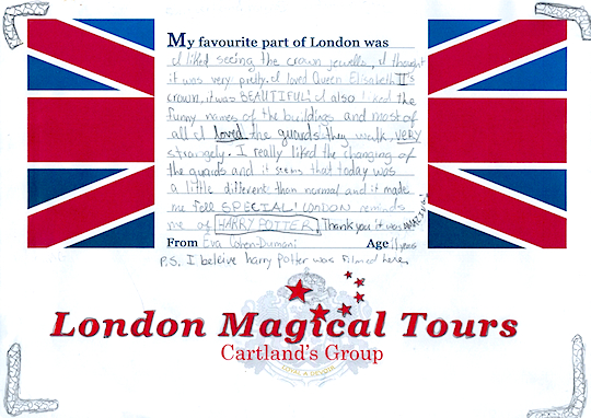 Eva Cohen, Age 11 on her Tour of London with Harry Potter Highlights