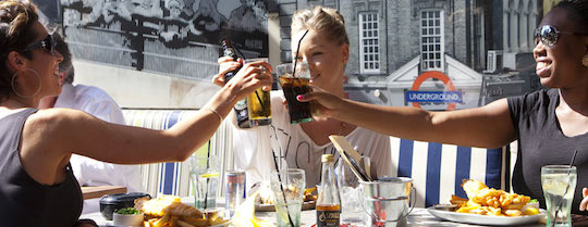 Enjoy a refreshing meal on the roof top terrace of the Alexandra, Wimbledon