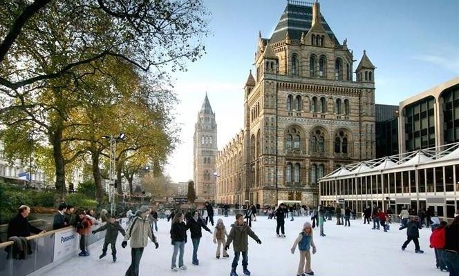 Enjoy a festive skate at the Natural History Museum's Ice Rink from October 2015