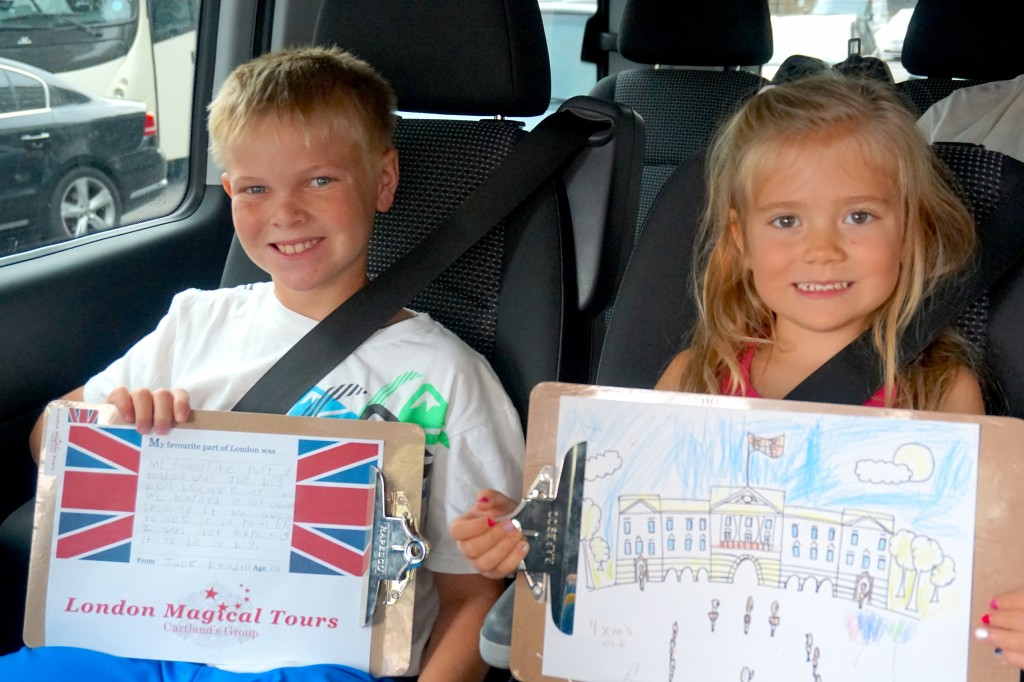 Young visitors learning about London on a private tour