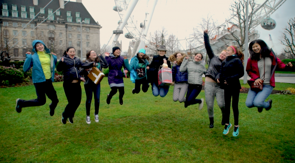 London Magical Tour's guests celebrating their Easter Egg Hunt victory at the London Eye